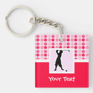 Cute Vintage Golfer Double-Sided Square Acrylic Keychain