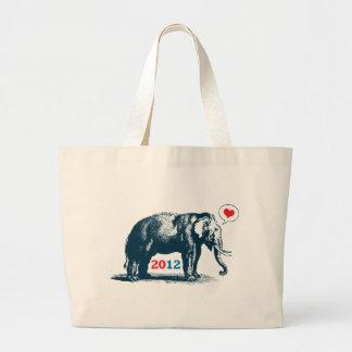 Cute Vintage GOP Elephant Republican Jumbe Tote Canvas Bags