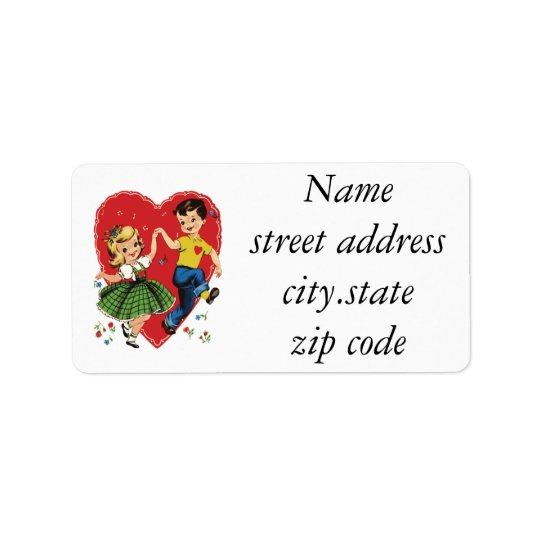 Cute vintage kids Valentine Address Label