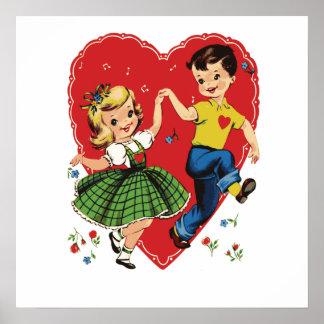 Cute vintage kids Valentine Poster
