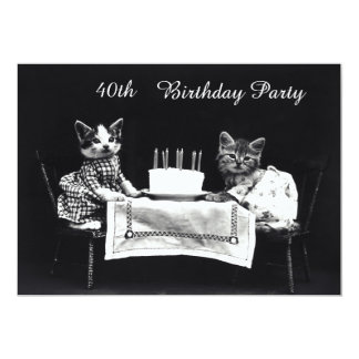 Cute Vintage Kittens 40th Birthday Party 13 Cm X 18 Cm Invitation Card