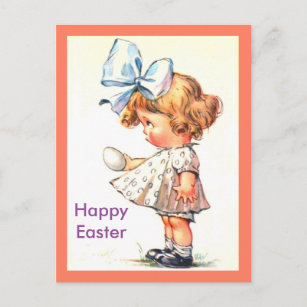 Cute Vintage Little Girl on Happy Easter Postcard