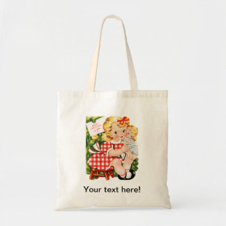 Cute vintage little girl with a doll budget tote bag