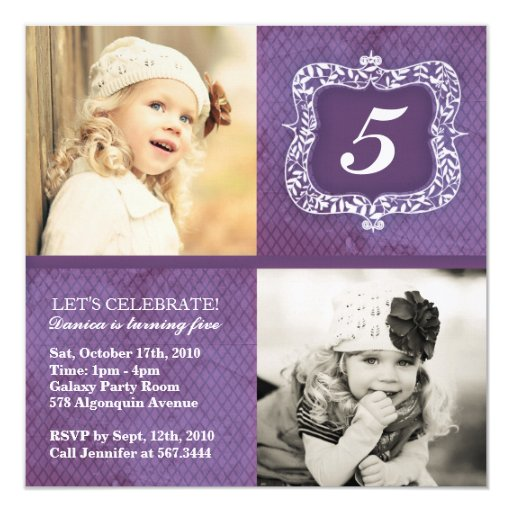 Cute Vintage Little Girls Birthday Invitation