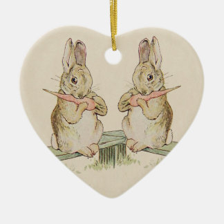 CUTE VINTAGE LOVE RABBITS, BUNNY HEART ORNAMENT