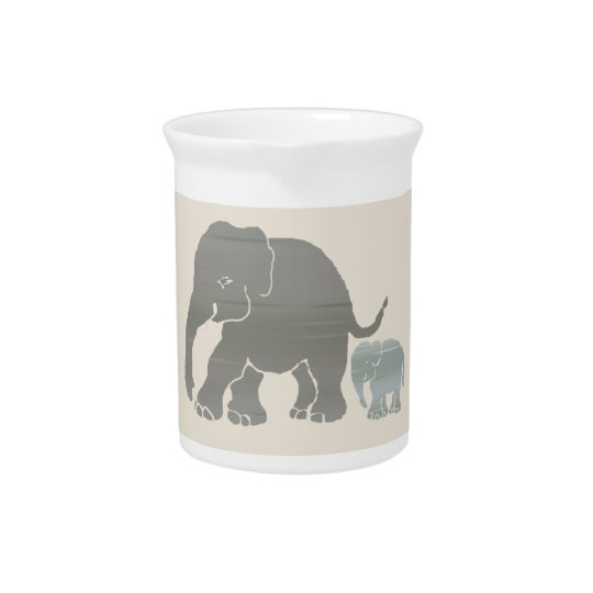 Cute Vintage Natural Colours Elephant with Baby Pitcher