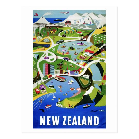 Cute Vintage New Zealand Travel Postcard