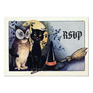 Cute Vintage Owl and Cat Halloween RSVP 9 Cm X 13 Cm Invitation Card