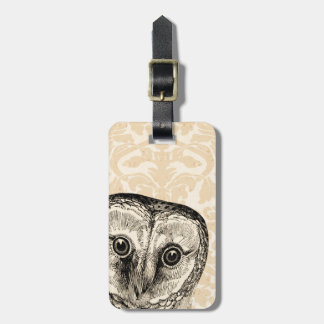 Cute Vintage Owl in Black on Tan Damask Luggage Tag