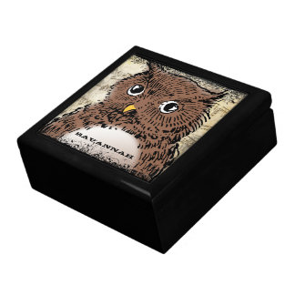 Cute Vintage Owl On Antique Music Sheet Large Square Gift Box