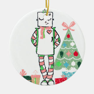 Cute Vintage Pastel Holiday Robot & Tree Round Ceramic Decoration