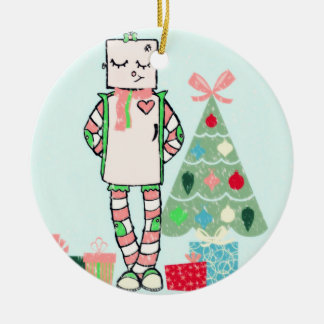 Cute Vintage Pastel Holiday Robot & Tree Ornament