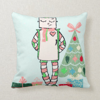 Cute Vintage Pastel Holiday Robot & Tree Pillow