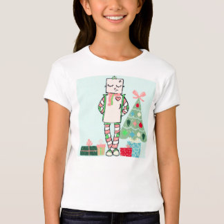 Cute Vintage Pastel Holiday Robot & Tree Tee Shirt