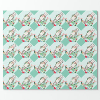 Cute Vintage Pastel Holiday Robot & Tree Wrapping Paper