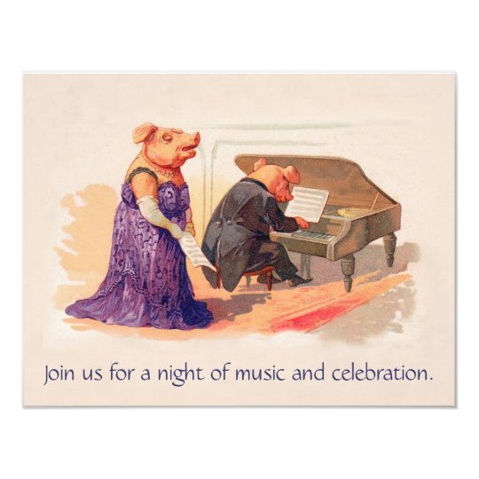 Cute Vintage Pigs in Concert - Birthday Invitation