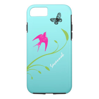 Cute Vintage Pink Swallow Bird Butterfly on Aqua iPhone 7 Case
