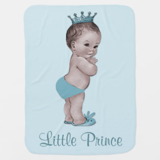 Cute Vintage Prince Baby Blue Receiving Blanket