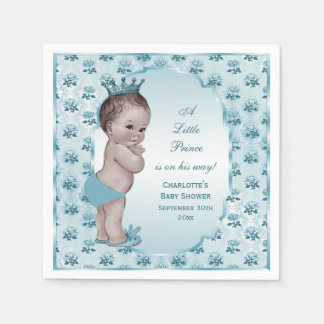 Cute Vintage Prince Baby Shower Paper Napkins