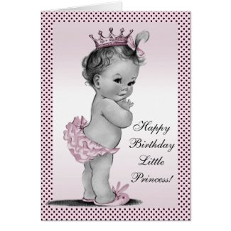 Cute Vintage Princess 1st Birthday Card
