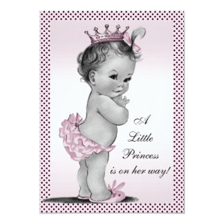 Cute Vintage Princess Baby Shower 13 Cm X 18 Cm Invitation Card