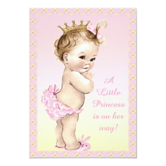 Cute Vintage Princess Floral Baby Shower 13 Cm X 18 Cm Invitation Card