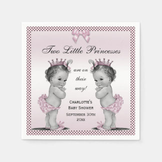 Cute Vintage Princess Twins Baby Shower Disposable Napkin
