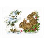 Cute Vintage Rabbits Christmas Scene