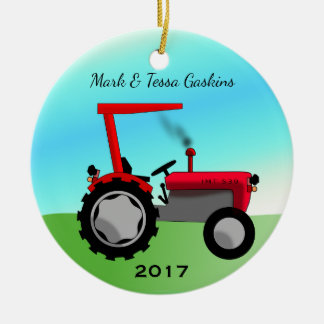 Cute Vintage Red Farm Tractor Christmas Ornament