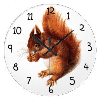 Cute Vintage Red Squirrel Large Clock