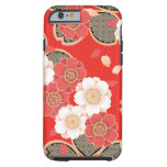 Cute Vintage Retro Floral Red White Vector