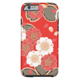 Cute Vintage Retro Floral Red White Vector Tough iPhone 6 Case