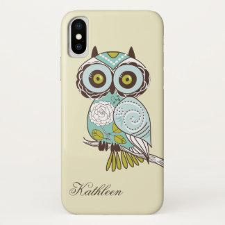 Cute Vintage Retro Groovy Owl Monogram iPhone X Case