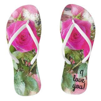 Cute Vintage Rose Print Romantic Flip Flops