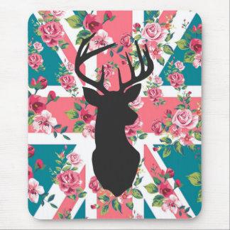 Cute vintage roses U.K. Union Jack Flag deer head Mouse Pad