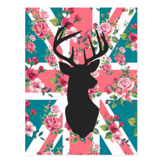 Cute vintage roses U.K. Union Jack Flag deer head Postcard