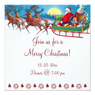 Cute Vintage Santa Clause Christmas Invitations