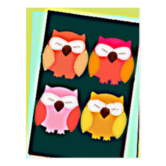 Cute Vintage Style Multi Colored Owls Postcard