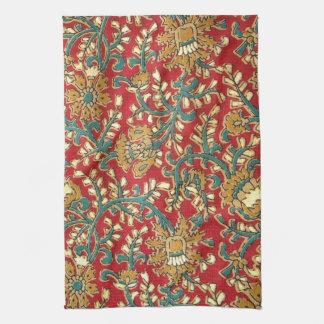 Cute Vintage Teal Red Indian Floral Pattern Tea Towel