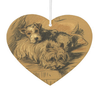 Cute Vintage Terrier Pups, Puppy Dogs, Old Fashion Car Air Freshener