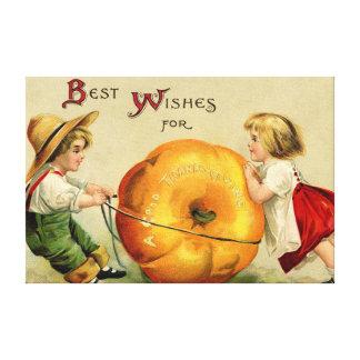 Cute Vintage Thanksgiving Greeting Canvas Print