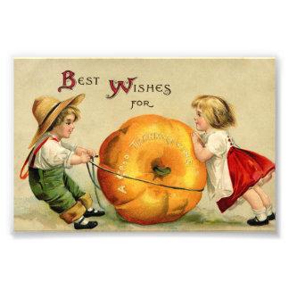 Cute Vintage Thanksgiving Greeting Photo Print