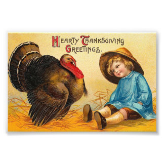 Cute Vintage Thanksgiving Greeting Photograph