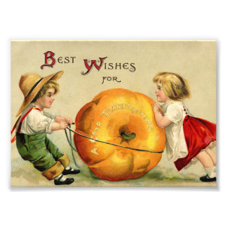 Cute Vintage Thanksgiving Greeting Photographic Print