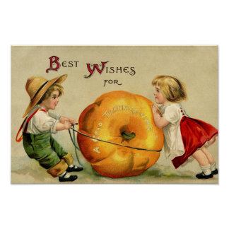 Cute Vintage Thanksgiving Greeting Poster