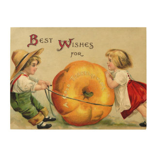 Cute Vintage Thanksgiving Greeting Wood Canvas