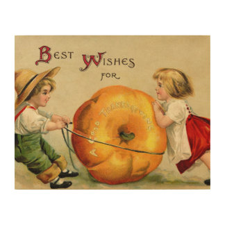 Cute Vintage Thanksgiving Greeting Wood Canvases