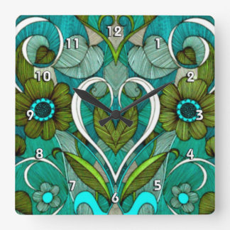 Cute Vintage Turquoise Wallpaper Wallclocks