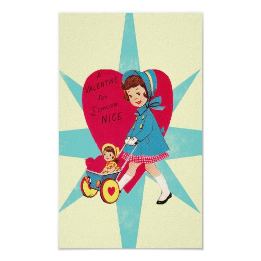 Cute Vintage Valentines Day card Poster