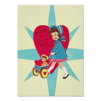 Cute Vintage Valentines Day card Print